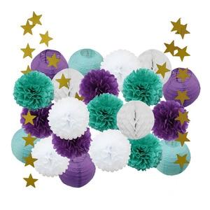 Image 2 - Bambino Doccia Ragazza Decorazione 22 pz/set Rosa Beige Blu Set Rotonda Lanterna di Carta Per Bambini Battesimo Favore di Partito Appeso Mestieri di Carta