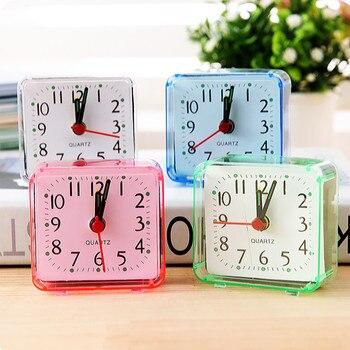 Reloj despertador cuadrado despertador cama pequeña compacto viaje cuarzo pitido despertador pilas portátiles lindas alarma de Música # L5