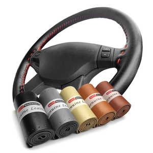 Braid Steering Wheel Cover Genuine Cowhide Leather Car Steering-Wheel On Wrap With Needle Thread 15inch 38cm(China)