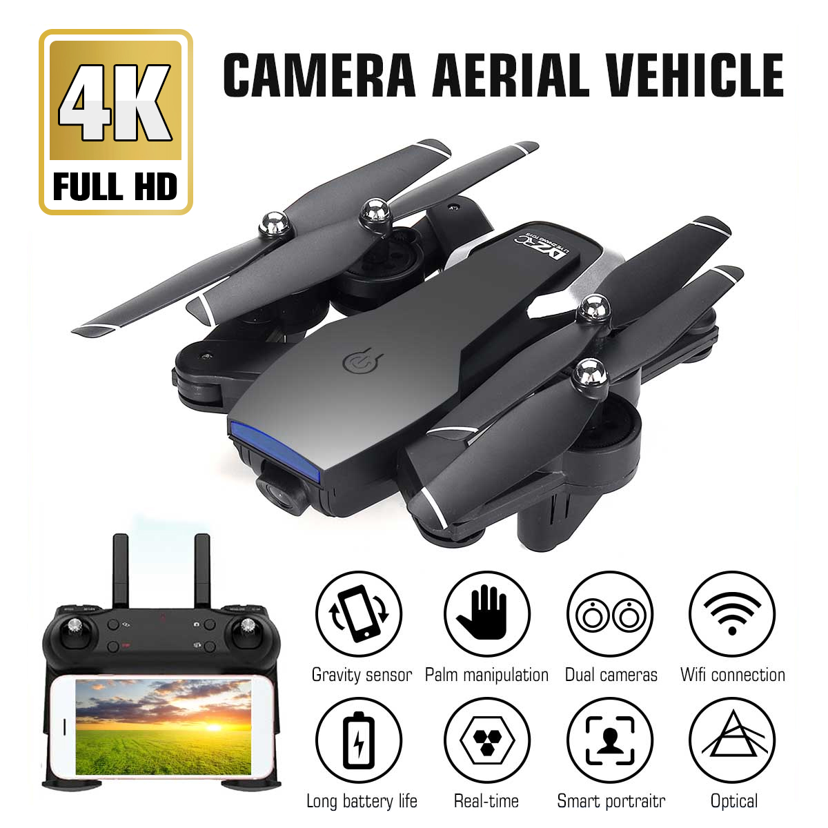 2.4G L107 1080P Dual Wifi Cameras Drone 120M RC Drone GPS Full Wide-Angle Camera APP Gesture Shot Smart Follow Up RC Drone image