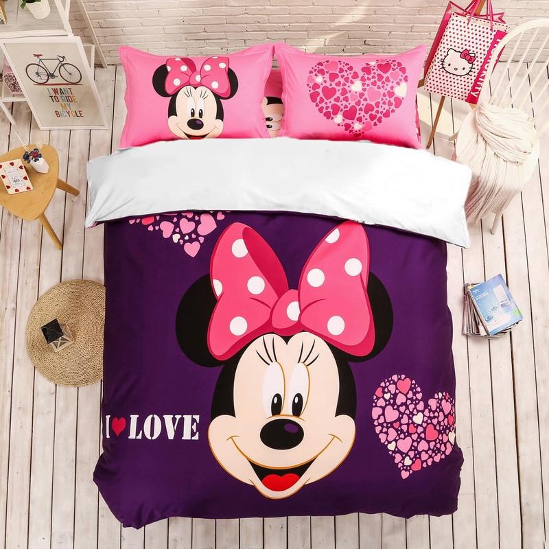 Minnie Mouse Bedding Set Disney Kids Girls Duvet Cover Pillowcases Twin Full Queen King Size Cartoon Bedlinen Dropshipping