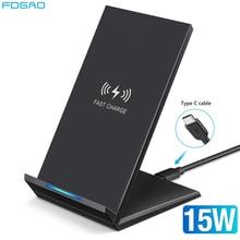 Fdgao qi carregador sem fio 15w usb c suporte de carregamento rápido para o iphone 12 11 xs xr x 8 samsung s20 s10 xiaomi mi 10 9 huawei p40 pro