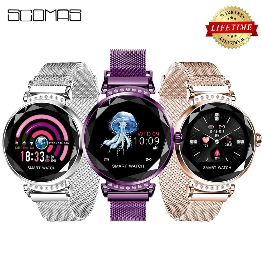 SCOMAS Nieuwste Mode H2 Smart Horloge Vrouwen 3D Diamant Glas Hartslag Bloeddruk Sleep Monitor Beste Gift Smartwatch-in Smart watches van Consumentenelektronica op  Groep 1