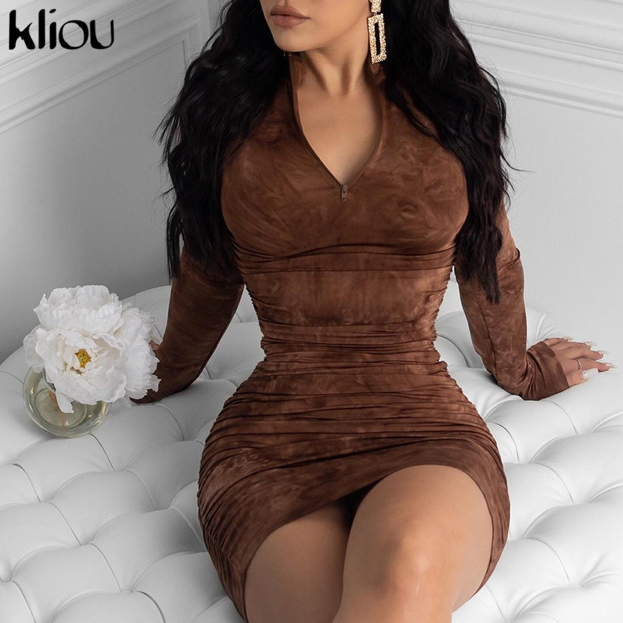Kliou spring new high quality print turtleneck bodycon midi dress woman 2020 casual high street pleated slim zipper dress mujer 5