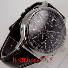 42mm CORGEUT Black Dial Moon Phase Date day Leather strap automatic Mechanical men's Watch