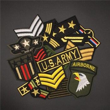 Parches militares de ejército para ropa bordados, placas para planchar parches militares para chaqueta vaquera, 16 unidades por lote