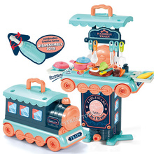Kids Pretend Play Simulation Kitchen Set Chef Cooking Game Miniature Food Mini Cookware Spray Light Girls Toy For Children Gift