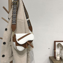 Locimole Vintage French Style Women Bags Fashion Lamb Hair Saddle Bag