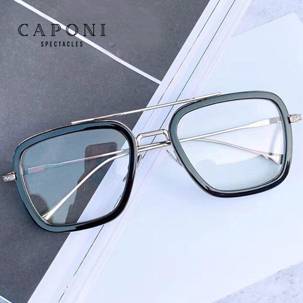 CAPONI Tony Stark Glasses Clear Lens Classic Metal Frame For Men Iron Man Square Eyewear Women Fashion Optical Eyeglasses J6618
