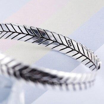 Sterling Silver Geometric Pattern Woven Silver Bangle  4