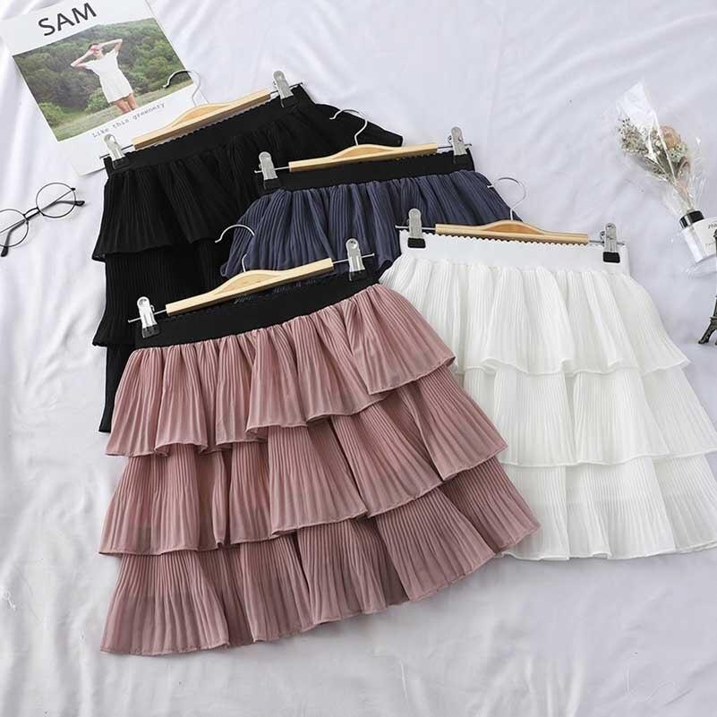 ¡Nuevo! Faldas NiceMix de primavera para Mujer, minifaldas plisadas de cintura alta con volantes de malla en cascada, Moda femenina 2019