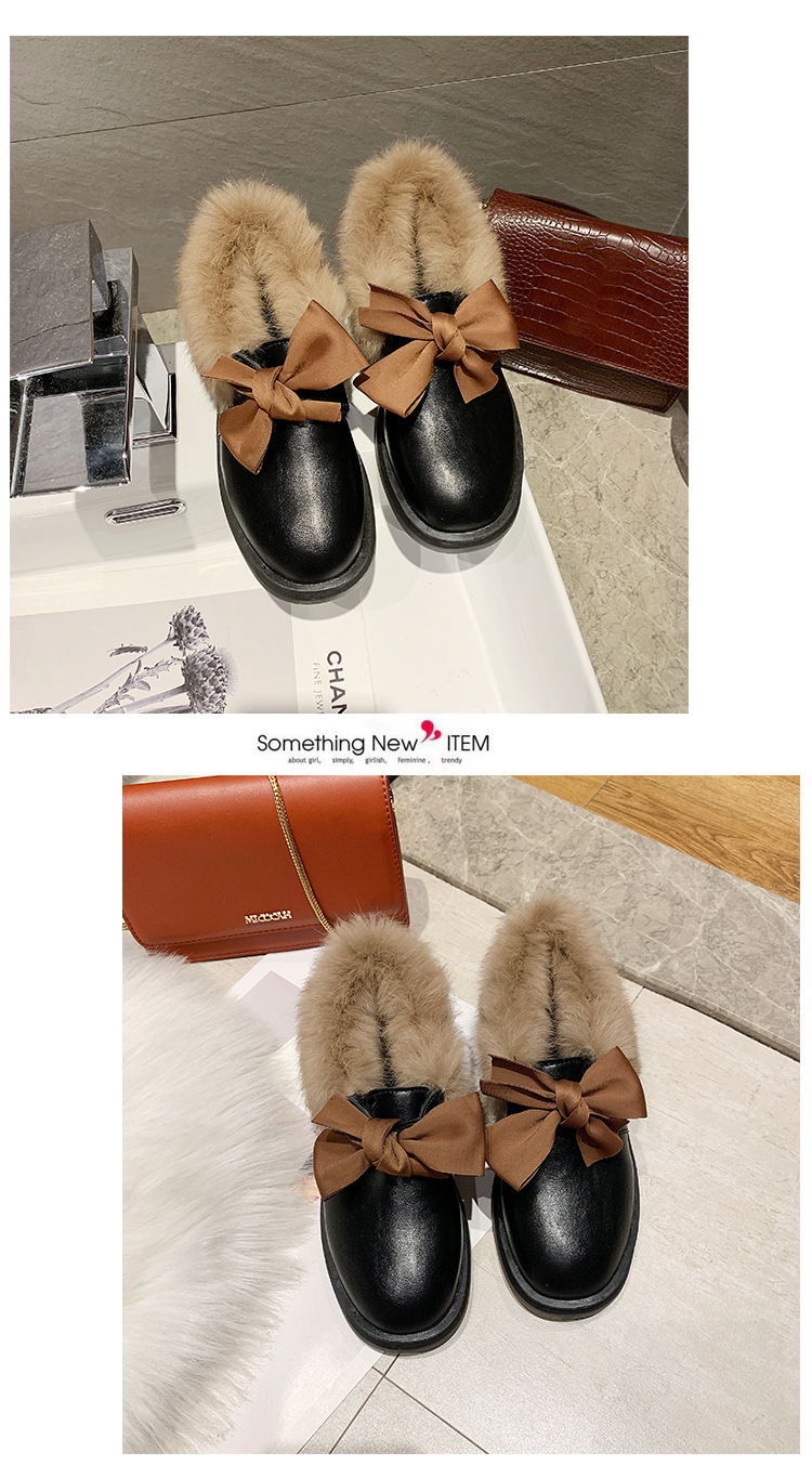 2019 winter long plush warm fur shoes bow tied decorate slip-on leather bullock shoes woman anti-skid chunky leisure espadrilles 57