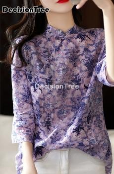 2021 chińskie bluzki qipao koszule nadruk w kwiaty szyfonowa bluzka cheongsam satynowe damskie tradycyjna chińska odzież dla kobiet tanie i dobre opinie DecisionTree Rayon Poliester CN (pochodzenie) Topy WOMEN