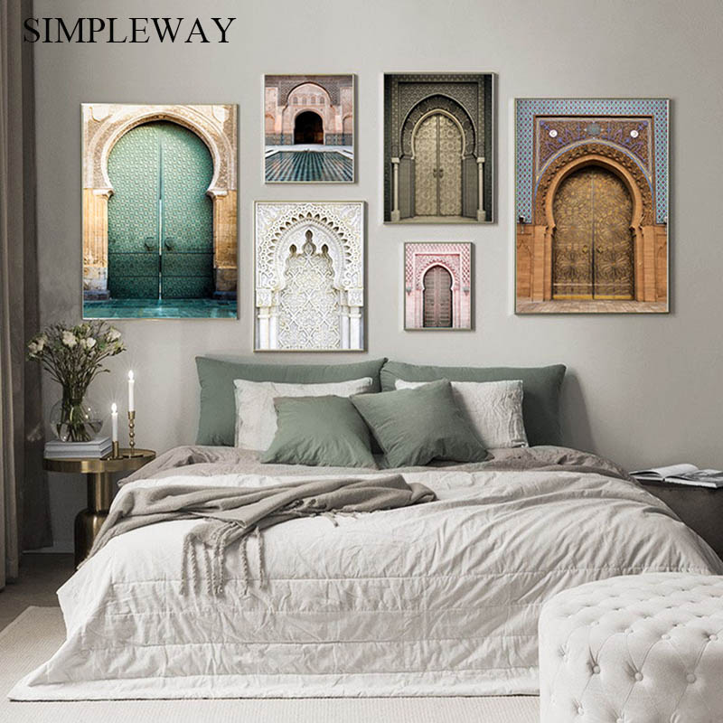 Moroccan Arch Old Door Canvas Painting Islamic Building Wall Art 