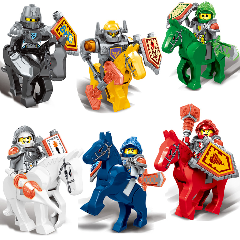 6pcs Nexus Knights Toy With Horse Building Blocks Compatible Nexoe Knights ZM243 Set Toys For Children Gift