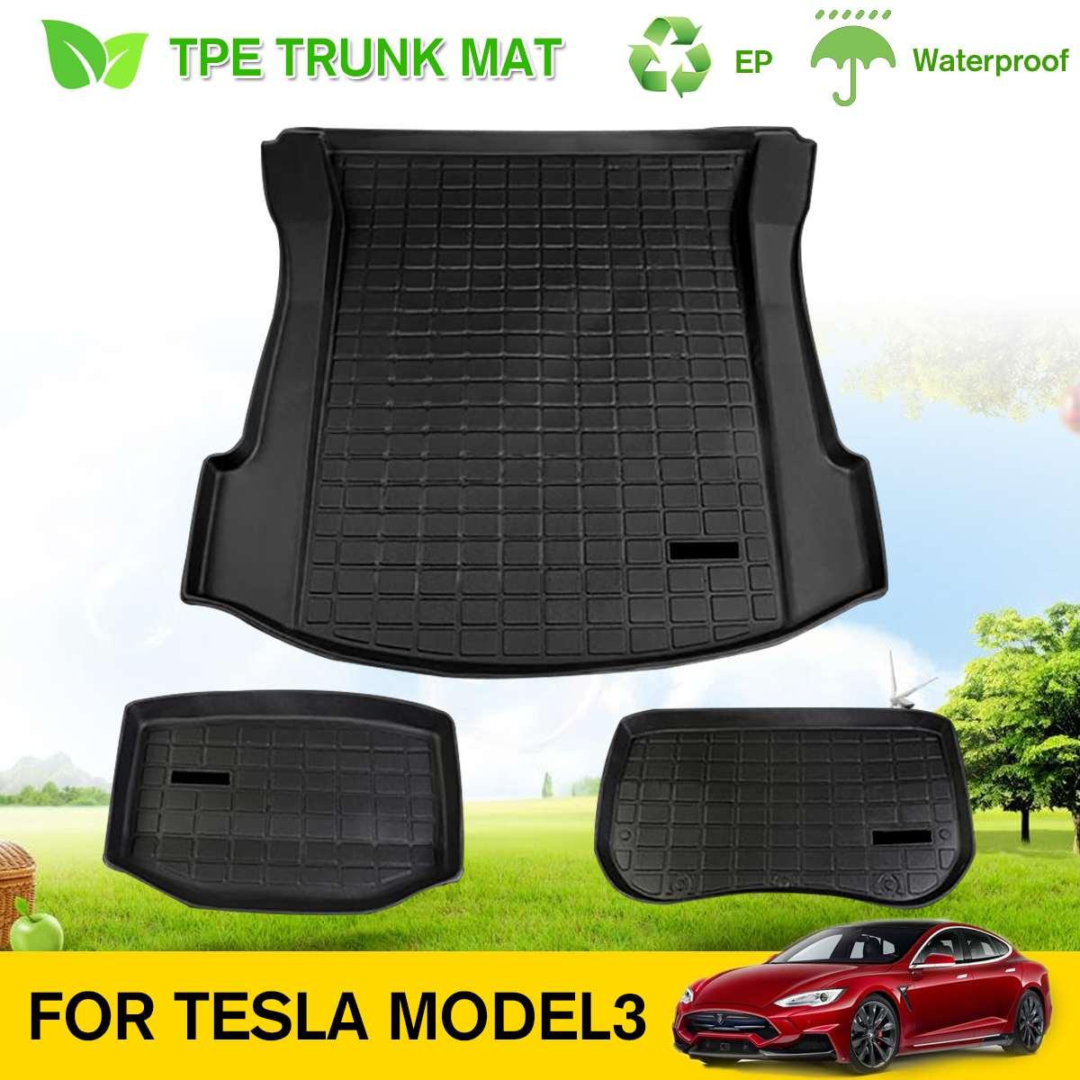 3Pcs Cargo Liner Rear Cargo Tray Trunk Floor Mat Under the Trunk Black TPE Waterproof Mat Customized for Tesla Model 3