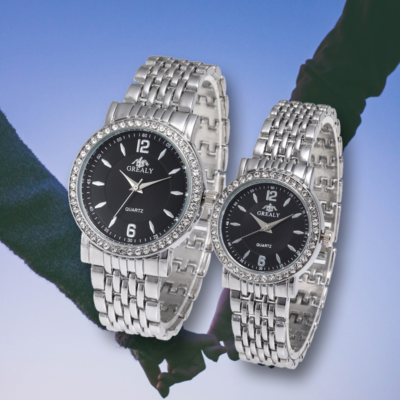 Lovers Watch Luxury Rhinestone Casual Quartz Stainless Steel Strap  Wristwatch Valentine's Day Gift Analog Business Montre Femme