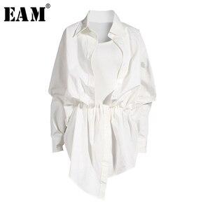 [EAM] Women White Irregular Knot Split Big Size Shirt Dress New Lapel Long Sleeve Loose Fit Fashion Spring Summer 2020 1X3420