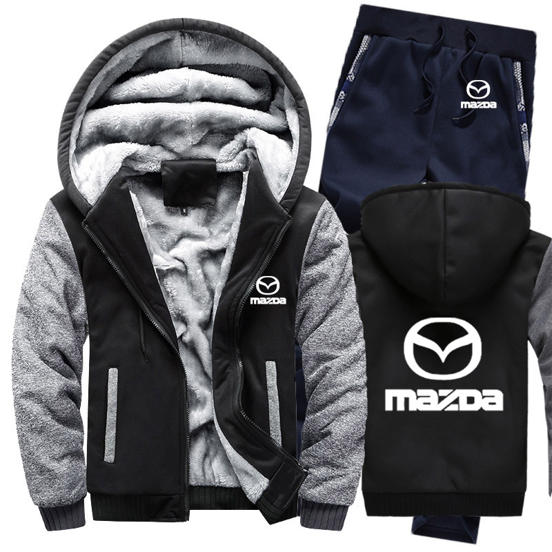 Hoodies Men Mazda Car Logo Mens Hoodies Suit Winter Thicken Warm Fleece Cotton Zipper Tracksuit Mens Jacket+Pants 2Pcs Sets