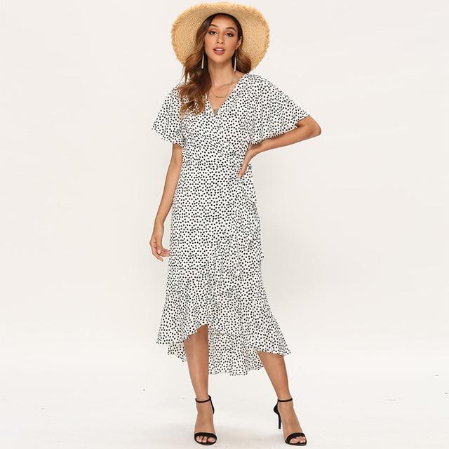 Summer Beach Maxi Dress Women Floral Print Boho Long Chiffon Dress Ruffles Wrap Casual V-Neck Split Sexy Party Dress Robe 7