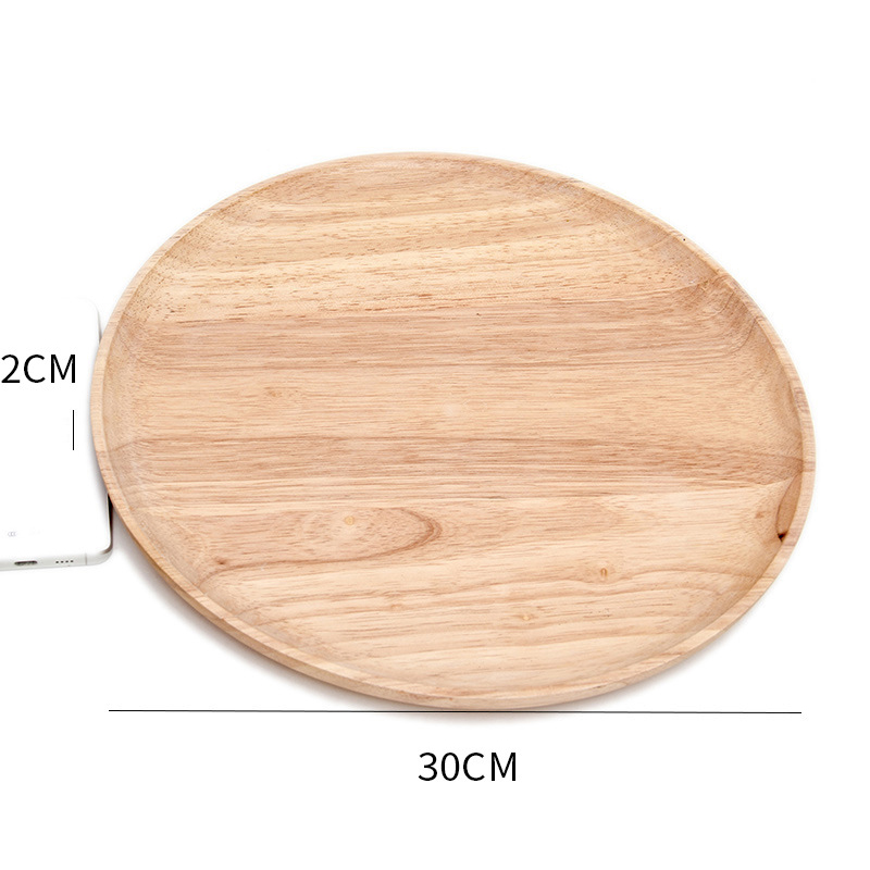 Wooden Round Storage Tray Plate Tea Food Dishe Drink Platter Food Plate Dinner Beef Steak Fruit Snack Tray Home Kitchen Decor - Цвет: 7