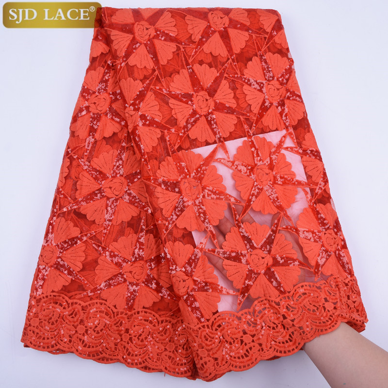 Image 3 - Red Milk Silk Lace African Nigerian Net Lace Fabric With Sequins High Quality French Mesh Lace Fabric For Wedding Sewing A1733-in Lace from Home & Garden