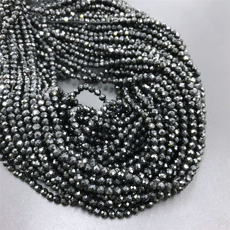 Naturel brillant qualité naturel noir spinelles à facettes perles rondes en vrac bricolage accessoires pour bijoux collier Bracelet fabrication