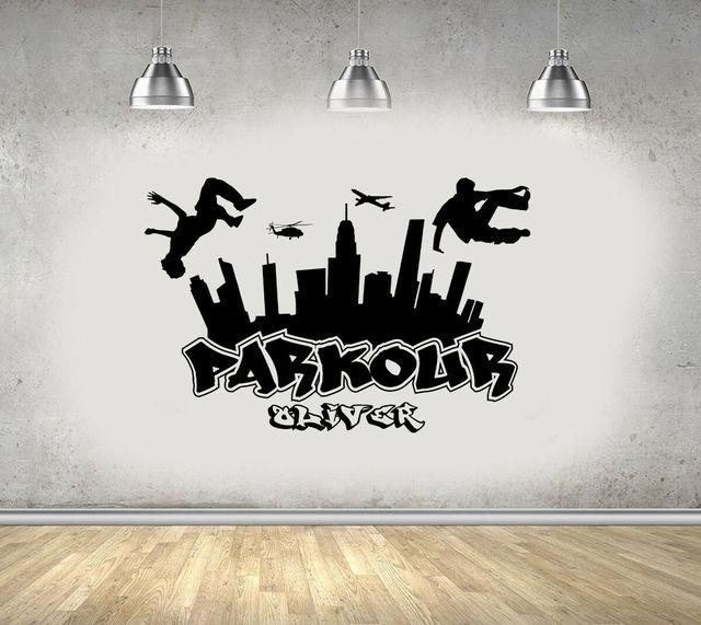 パルクール市シルエット壁用シールの少年フリーランジャンプ市スタイルスケートボードグラフィティアート壁ステッカー見つける独自の方法 3YD11