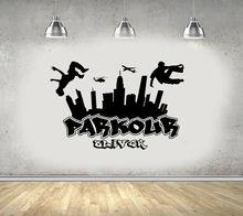 Parkour City Etiqueta de pared silueta Boy Free Run Jump diseño de ciudad grafiti skate adhesivo artístico de pared Find Your Own Way 3YD11