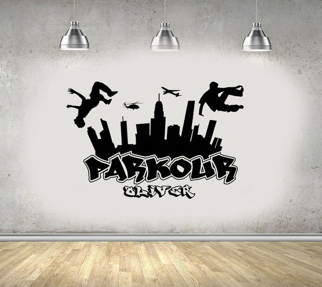 Parkour City Silhouette Wall Decal Boy Free Run Jump City Style Skateboard Graffiti Art Wall Sticker Find Your Own Way 3YD11
