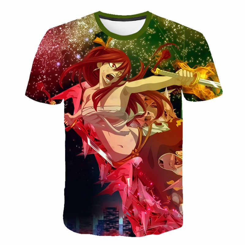 Anime Fairy Tail 3D T-Shirt Das Meninas Dos Meninos de Manga Curta camiseta Fairy Tail 3D Impressão Tee Verão camisa Moda Em Quadrinhos topos de Hip Hop