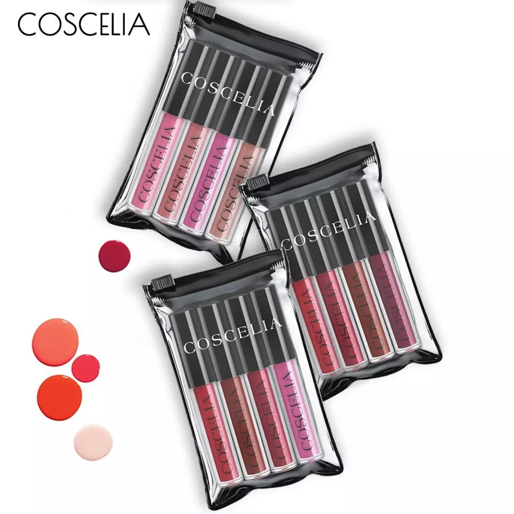 COSCELIA Matte Lipstick Velvet Sexy Lip gloss Set Cosmetic Lip Tint lip gloss Waterproof 4pcs lipstick for lips Moisturizer(China)