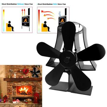 Black Wall Mounte 5 Blade Heat Fireplace Fan Stove Fan Powered Stove Fan Wood Burner Eco Friendly Quiet Fan Heat Distribution