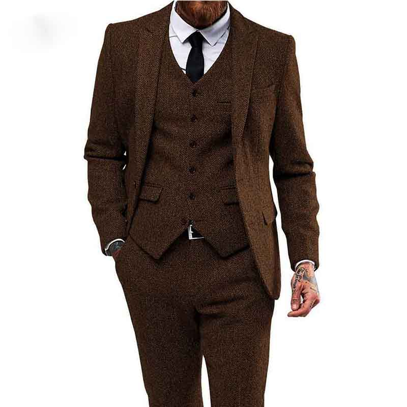 Brown Herringbone Tweed Men Suits For Wedding 3 Pieces Smoking Blazer Man Suit Costume Homme Last Jacket With Tuxedo Pan