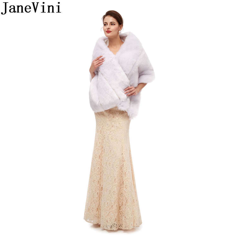 JaneVini White Ladies Women Fur Wedding Bolero Capes Coat 2020 Ivory Gray Winter Bridal Dress Shawl Faux Fur Wraps Stoles stola