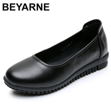BEYARNEWomen Office Career Dress Shoes Spring Autumn Solid Flats Shoes Woman Cow Leather Soft Bottom Round Toe Black Women Work