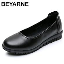 Beyarnewomen escritório carreira vestido sapatos primavera outono apartamentos sólidos sapatos mulher de couro vaca fundo macio dedo do pé redondo preto