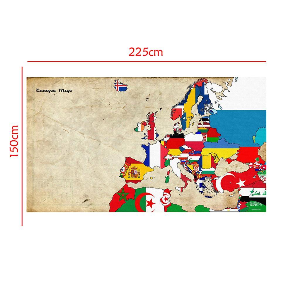 Non-woven Europe Decor Map Home Office School Wall Decor Painting 150x225cm Rectangle Photo Studio Backdrop
