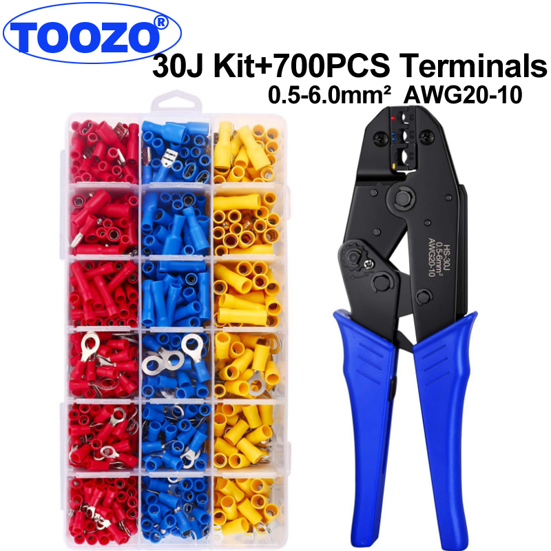 HS-30J crimper crimping pliers tool 0.5-6.0mm2 AWG20-10 Semi-insulated and fully insulated terminals Butt splice