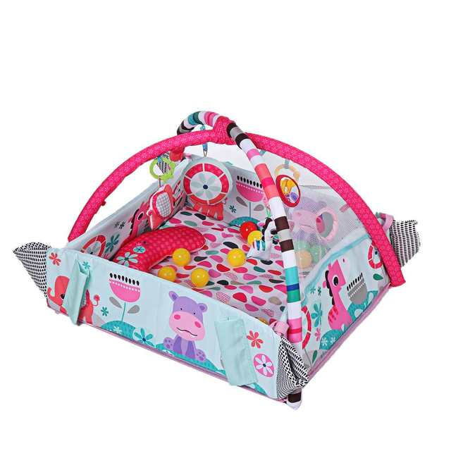 Cartoon Baby Gym Playmat Toddler Activity Balls Musical Toy Floor Carpet Crawling Rug Infant Play Mat Gym Fence Rack Dolls Toys 1