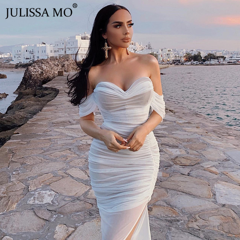 JULISSA MO Double Mesh <font><b>Sexy</b></font> Long Party <font><b>Dress</b></font> Women Off Shoulder Bodycon Summer <font><b>Dress</b></font> Female <font><b>Red</b></font> Strapless Split <font><b>Dresses</b></font> Vestidos image