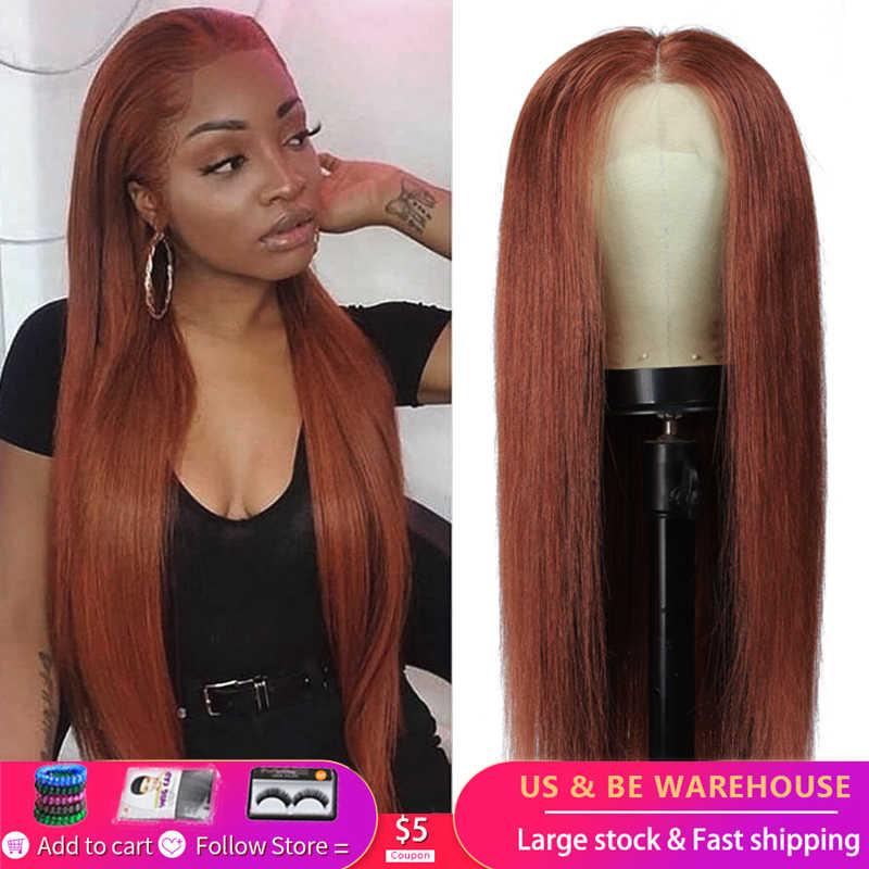 13X4 Lace Front Menselijk Haar Pruiken Voor Zwarte Vrouwen 33 Auburn Brown Braziliaanse Straight Pre Geplukt Kant Pruiken remy Haar Pruik 150% Kemy