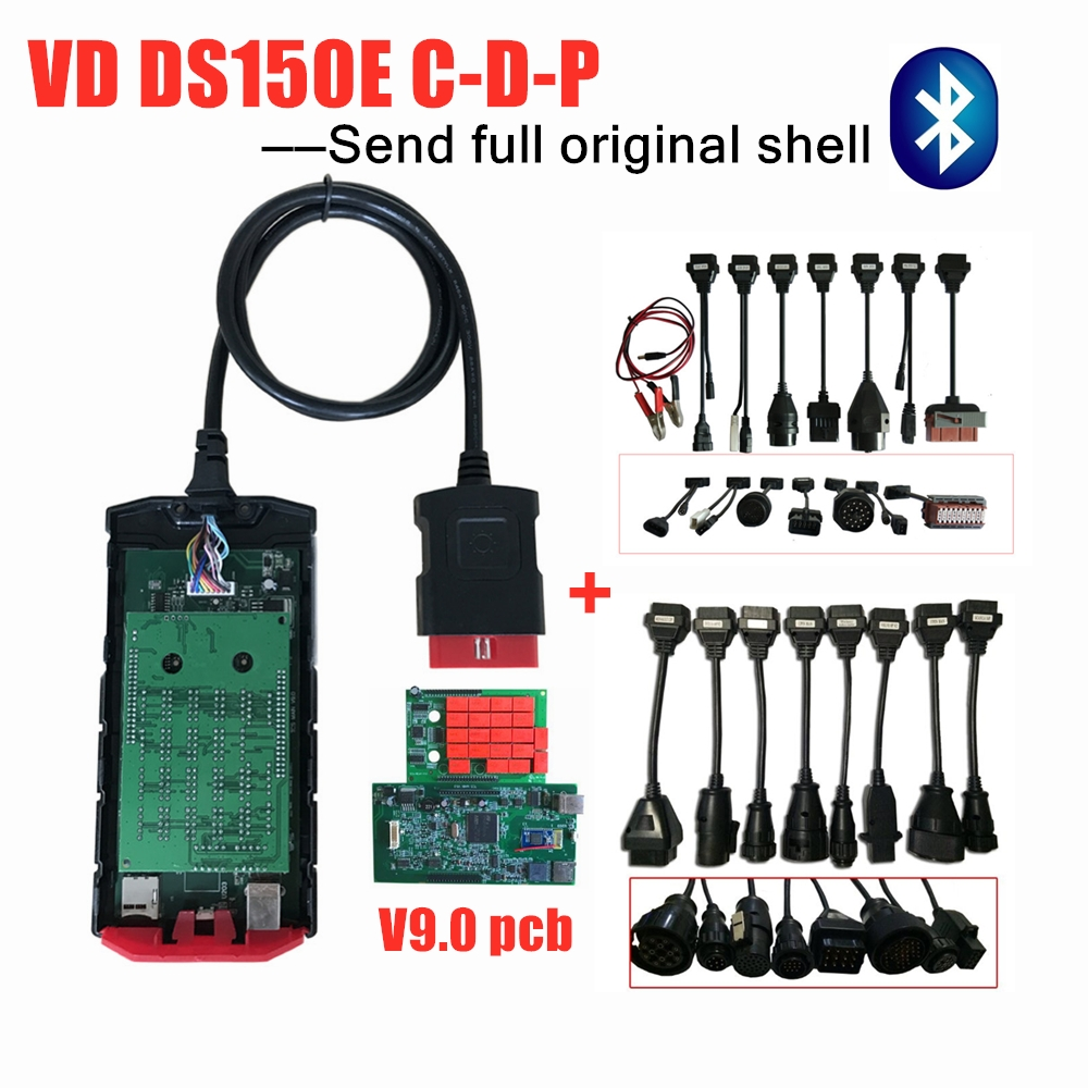 Free shipping new v9.0 board with bluetooth 2016R0/2015R3 OBD2 Scanner tool for delphis +full 8 car/truck cables+Original shell|Car Diagnostic Cables & Connectors| |  - title=