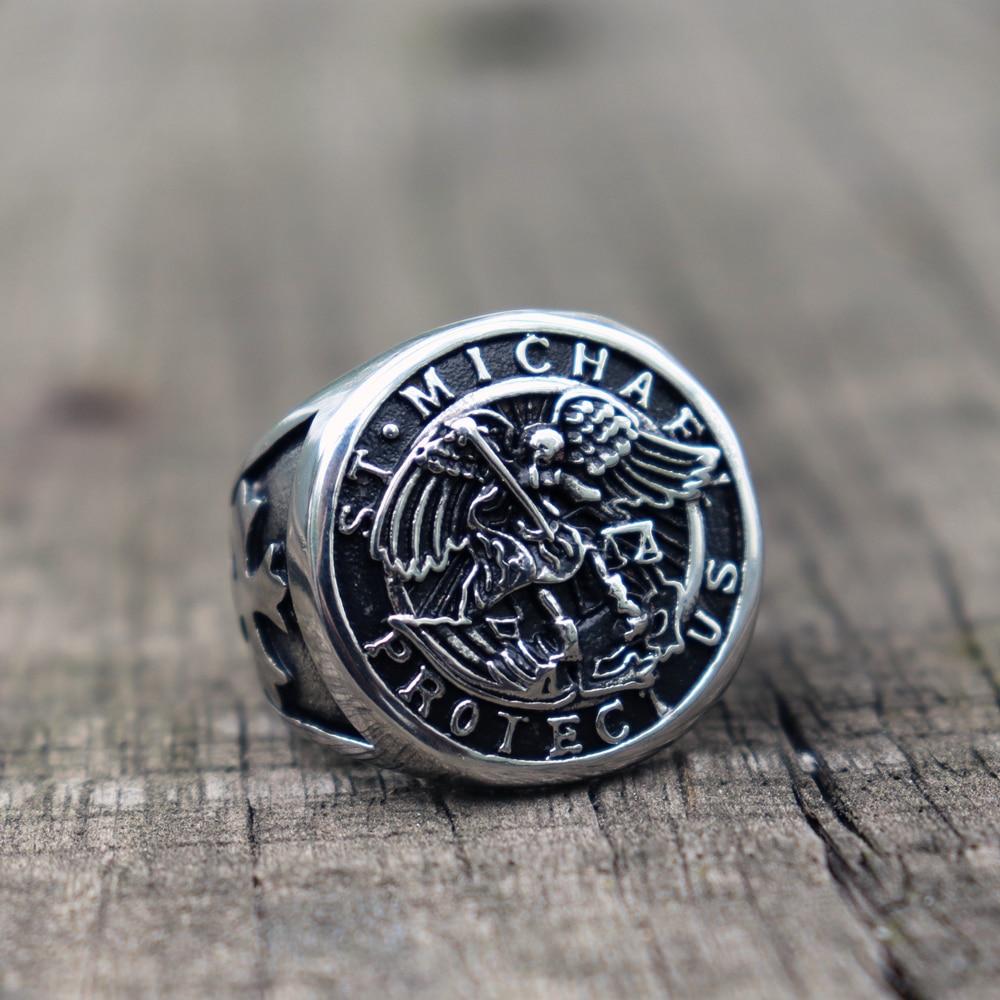 316L Stainless Steel Save and Protect Archangel Biker Rings Men Women Knigts Templar  Ring Guardian Angel Biker Jewelry