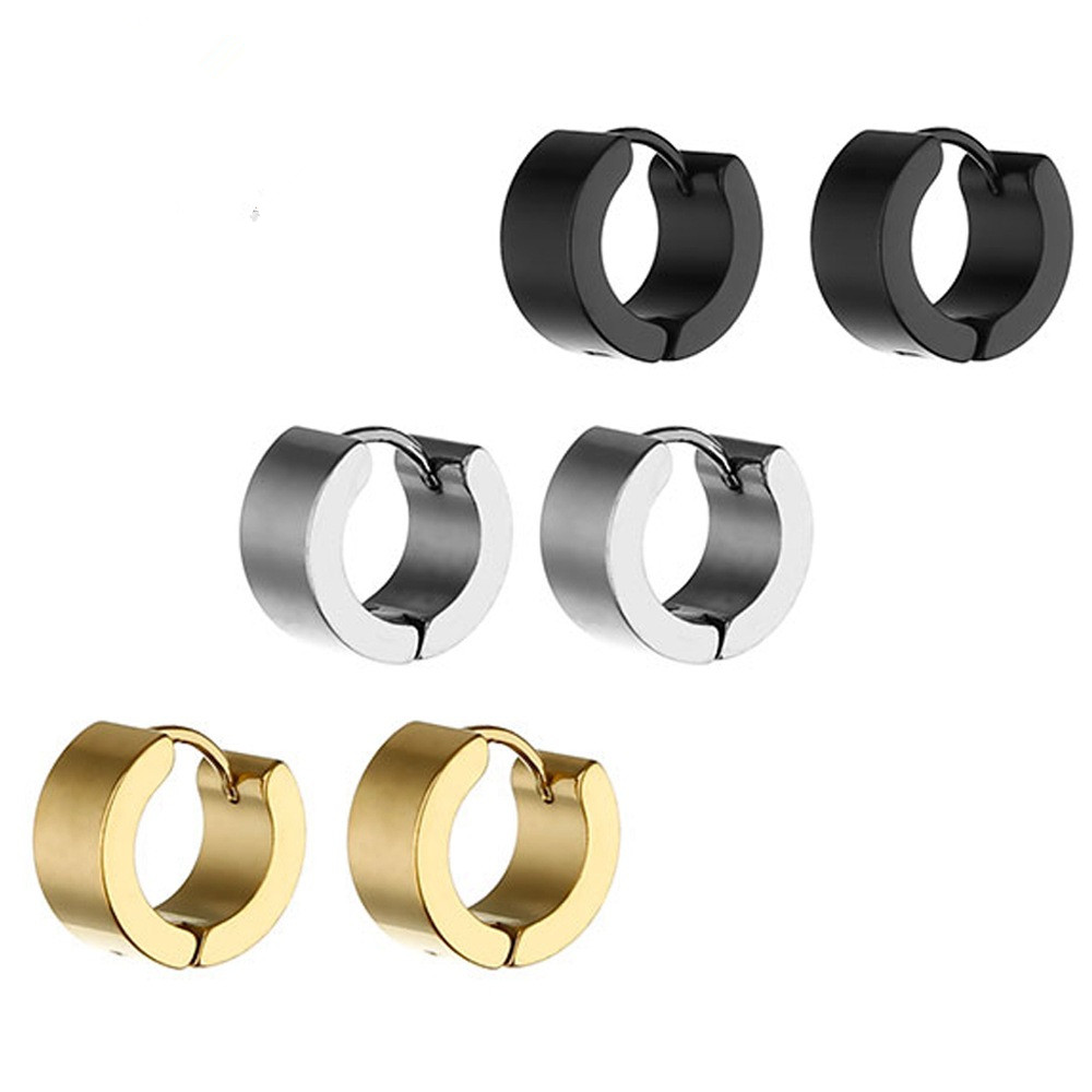 Hf58be031d2ad4a2a87cd99cb04daa630k - Fashion Gothic Punk 1 Pair Stainless Steel Mens wide glossy Stud Earrings Jewelry Black Earrings Ears Buckle