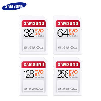 SAMSUNG EVO Plus SD Card SDHC 32GB SDXC 64GB 128GB 256GB UHS-III Class 10 Flash Memory Card For Camera