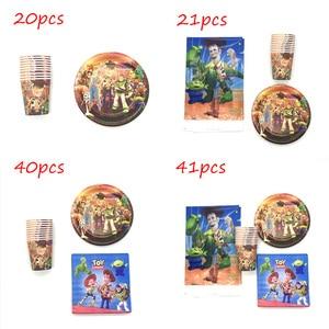 Décorations de fête d'anniversaire Toy Story 4 41 pièces/lot | Décorations pour fête d'anniversaire à thème, gobelets assiettes serviettes pour enfants, fournitures de table jetables