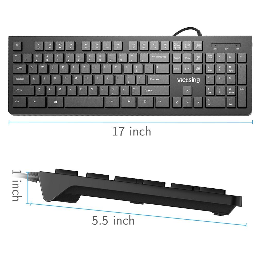 PC206 Wired Keyboard Portable Slim Membrane Chiclet Keyboard 104 Keycaps For Tablet Desktop Laptop PC Computer Keyboard (5)
