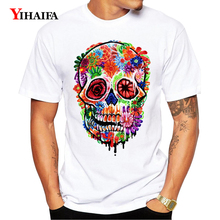 Newest T-Shirt Men Women 3D Print Colorful Floral Skull Graphic Tees Casual White Tee Shirts Hip Hop O-Neck Unisex Tops men skull and floral print tee