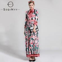 SEQINYY Elegant Long Dress 2020 Autumn Winter New Fashion Design Long Sleeve Pin